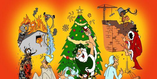 autobedrijf, kerstkaart, cartoon, illustratie, the artistry, kaarten