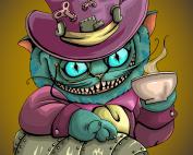 Cheshire cat, alice in wonderland, steampunk, blue, purple, thee