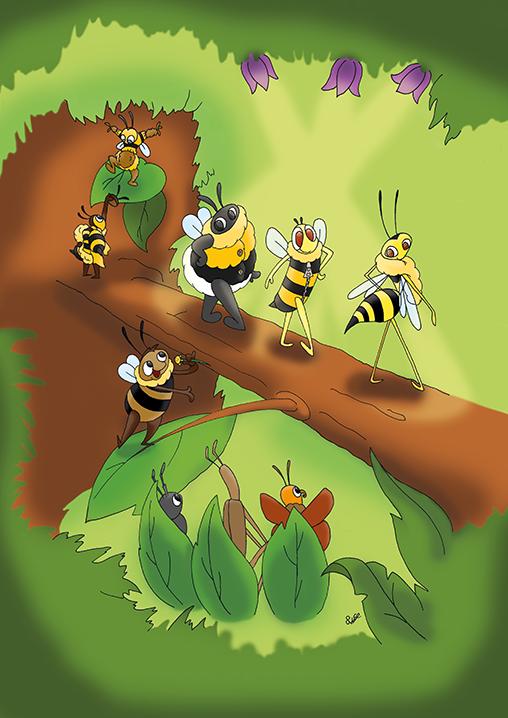 wilde bijen, kinderboek, illustraties laten maken, kinderboekenillustrator, bloemen, bijen, natuur, bijenstichting, knnv, kinderboek kopen, illustraties ontwerpen, fashionshow, catwalk, bee, wesp, hommel, wolbij, zweefvlieg, insecten, boom