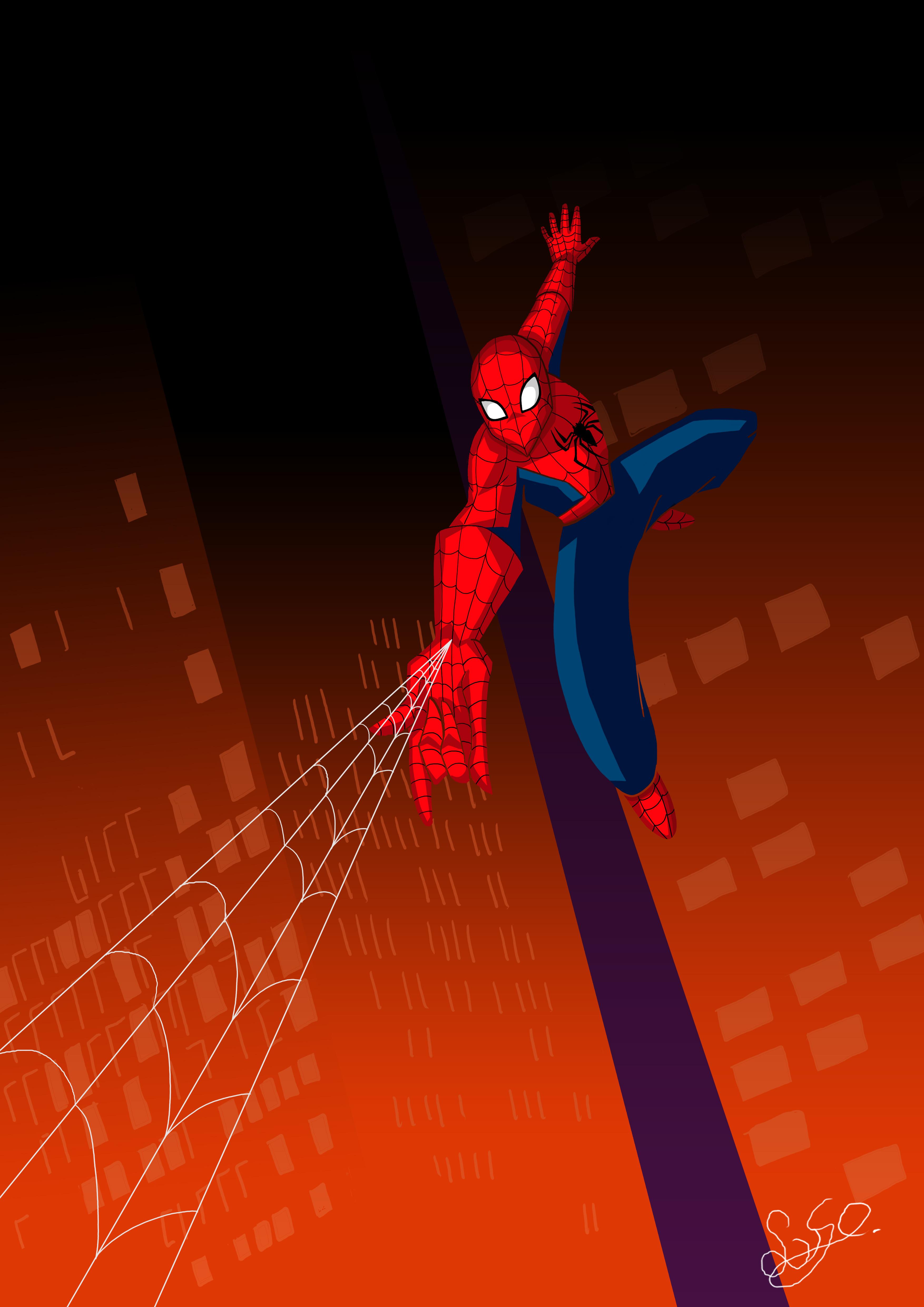 poster, illustratie, spiderman, Marvel comics, spiderweb