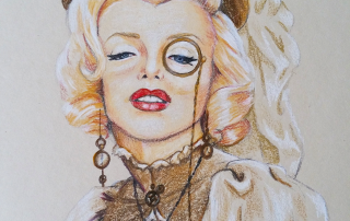 marilyn Monroe, steampunk, victorian, potlood
