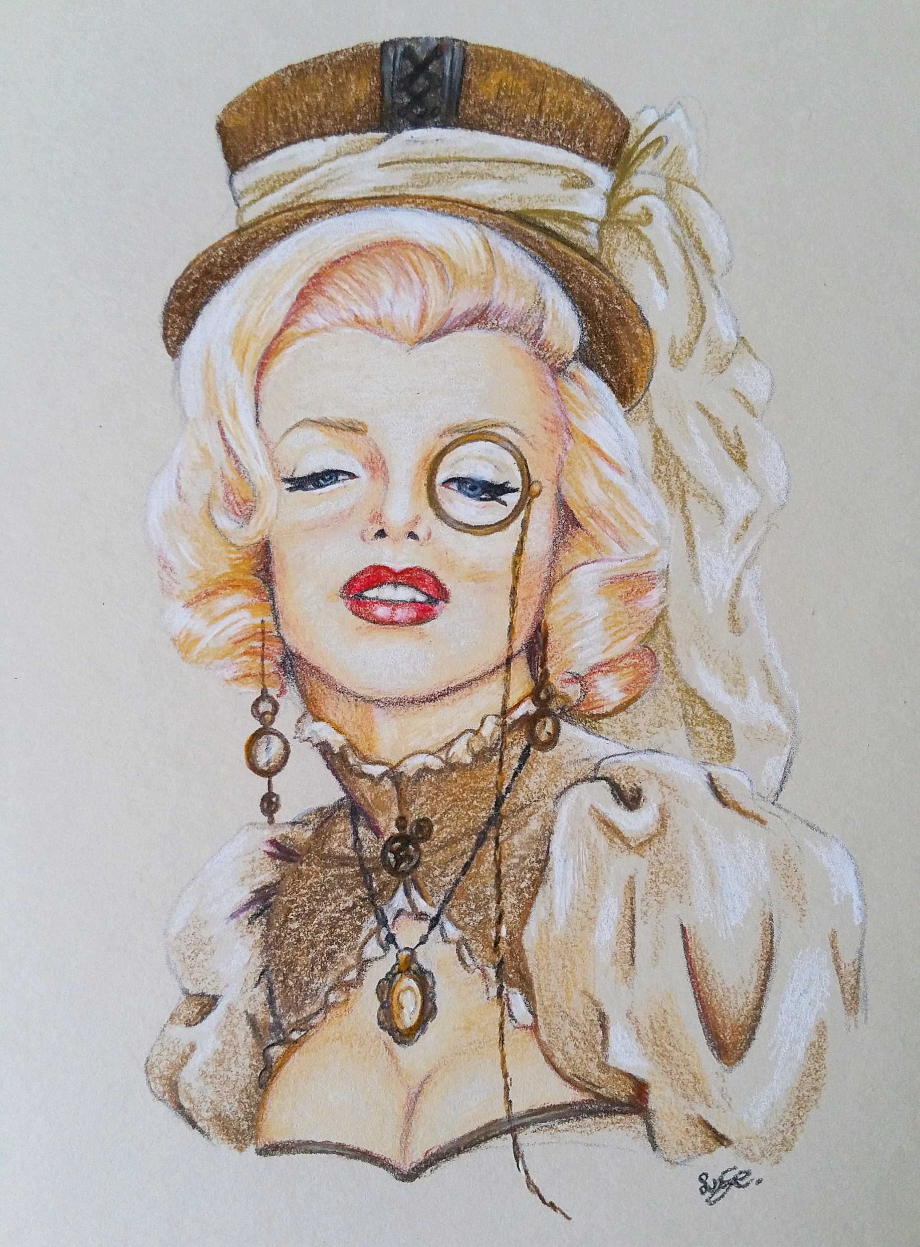 marilyn Monroe, steampunk, victorian, potlood