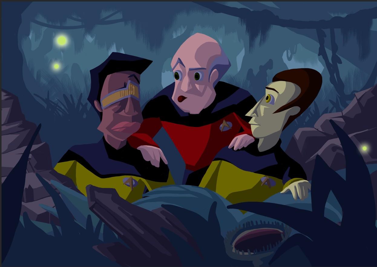 Startrek, captain picard, data, swamp, night