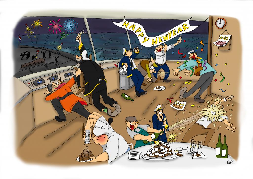 Loodswezen, kalender, kalender maken, illustratie laten maken, kleurrijk, loodsen, zee, schepen, loodsboot, bedrijf, cartoon kerstmis, oud en nieuw