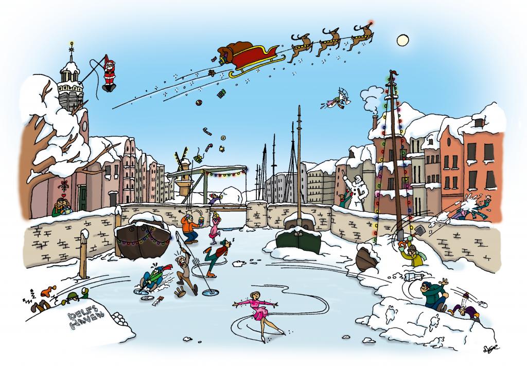 Delfshaven, Rotterdam, prent, schepen, Pilgrims, illustratie laten maken, geschiedenis, cartoon, kaart maken, karakterdesigns, humor, kaarten laten maken, poster, winter, kerst, kerstkaart, kerstprent, prent laten maken, kerstman, sneeuw