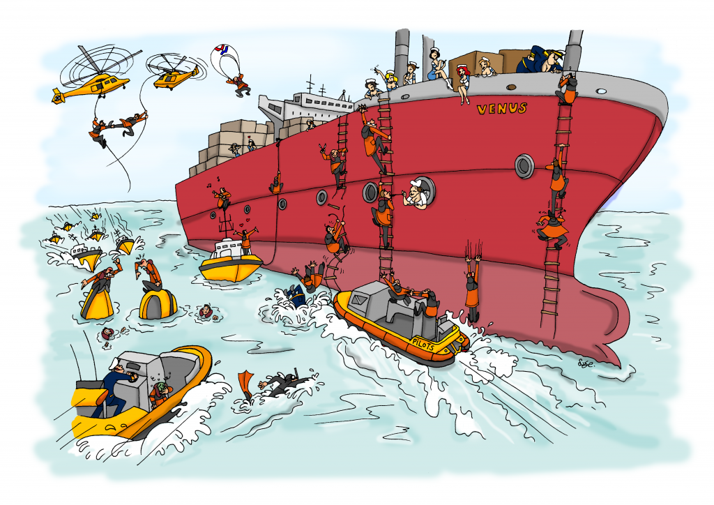 Loodswezen, kalender, kalender maken, illustratie laten maken, kleurrijk, loodsen, zee, schepen, loodsboot, bedrijf, cartoon, valentijnsdag, liefde