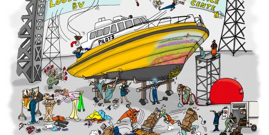 Loodswezen, kalender, kalender maken, illustratie laten maken, kleurrijk, loodsen, zee, schepen, loodsboot, bedrijf, cartoon