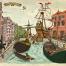 Delfshaven, Rotterdam, prent, schepen, Pilgrims, illustratie laten maken, geschiedenis, cartoon, kaart maken, karakterdesigns, humor, kaarten laten maken, poster