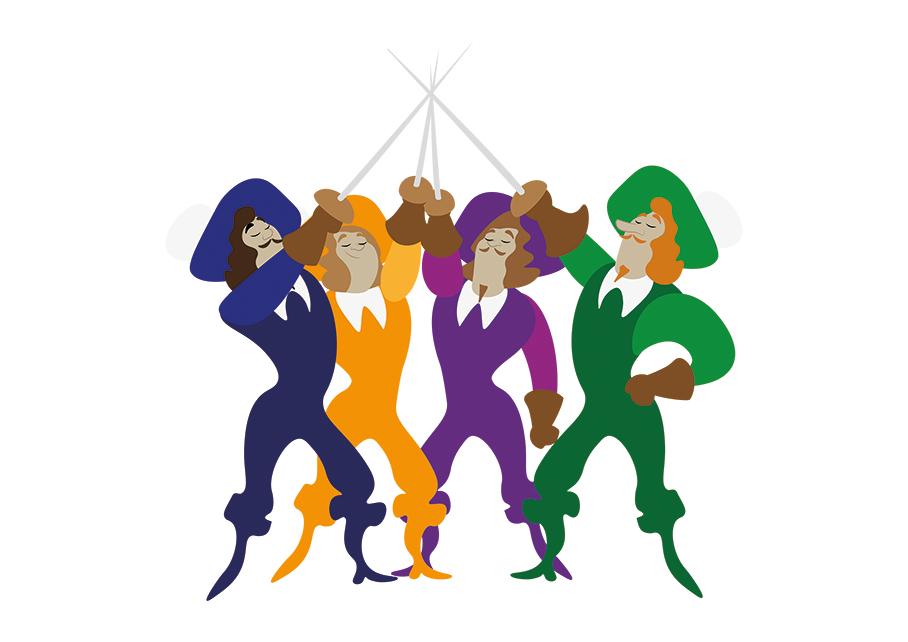Animatie, illustratie, illustratie laten maken, blog, illustreren, musketeers, illustratieblog, kleur