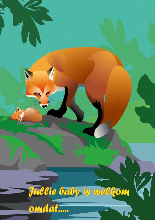 geboortekaartje, kaarten maken, relatiegeschenken, vos, fox, voskaart, geboorte, baby, geschenk laten maken, illustratie, illustraties laten maken, hoeveel kost een illustratie, relatiegeschenk maken