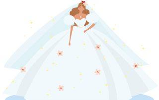 illustratie, infographic, weddingdress, bruidsjurk, disney, illustratie laten maken, wedding, bruiloft, theartistry, infographic laten maken, infographics, illustration, giftcard, kaart, bruidskaart, jurk, bloemen, flowers