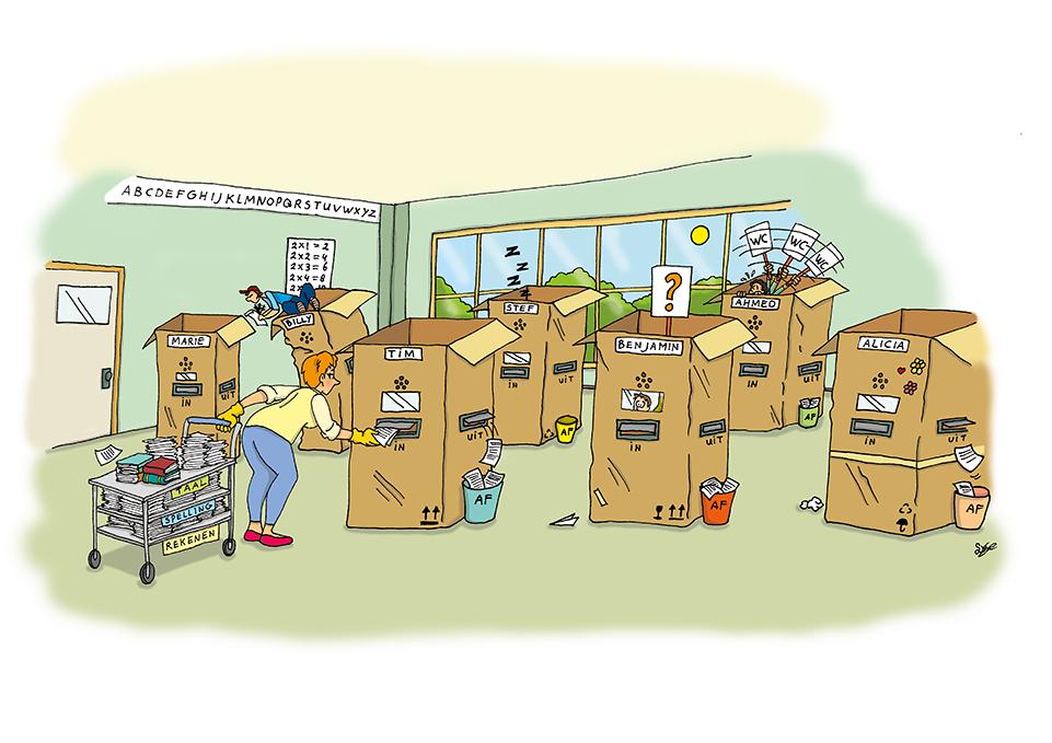 illustratie, cartoon, covid-19, coronavirus, illustratie laten maken, prent, scholen, basisscholen, coronamaatregelen, lesgeven, coronaproof