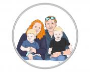 portret, portret laten maken, illustratie, illustration, portrettekenen, family, kinderen, gezin, geschenk, print