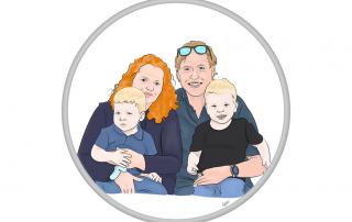 schilderijen, posters, gezin,portret, portret laten maken, illustratie, illustration, portrettekenen, family, kinderen, gezin, geschenk, print