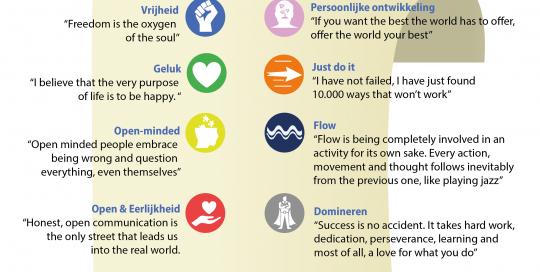 infographic laten maken, hoe werkt een infographic, blad met iconen en waarden van het bedrijf