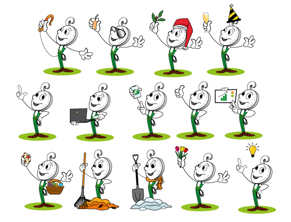 verschillende poses van Nieco, illustraties laten maken, animaties laten maken. Zelf een mascotte maken